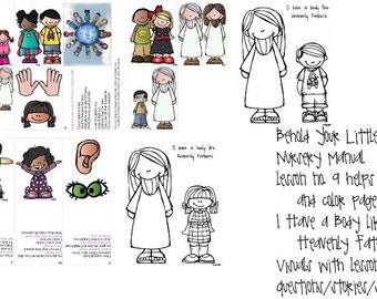 lds primary Nursery Manual, lesson 9, I Have a Body like Heavenly Father's visual helps plus color page