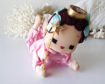 Vintage pose doll angel baby retro pink Japan fairy stockinette pixie netting wings Christmas decoration