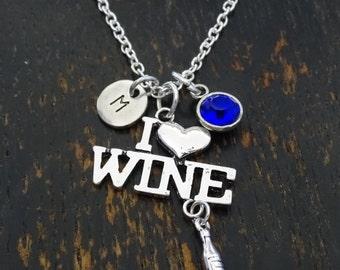 I Love Wine Necklace, I Love Wine Charm, I Love Wine Pendant, Wine Jewelry, Wine Lover Necklace, Wine Lover Gift, Wine Lovers, 21 Birthday