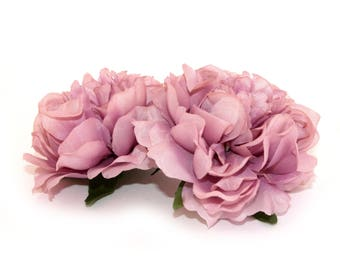 2 Small MAUVE PINK Peonies  - Artificial Flower Heads