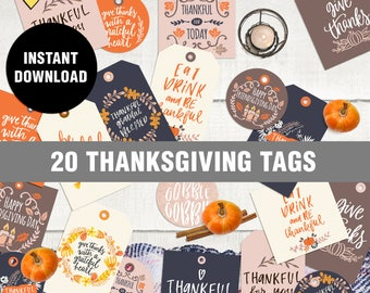 A special request Thanksgiving Tags, Instant Download, printable tags, thanksgiving, give thanks, tags, gift, print your own, thankful
