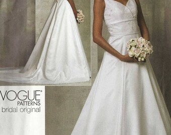 Vogue 1163 Wedding dress crossover sweetheart bodice vee back wide waistband flared skirt train Size 6-8-10-12 Vogue Bridal Original (uncut)