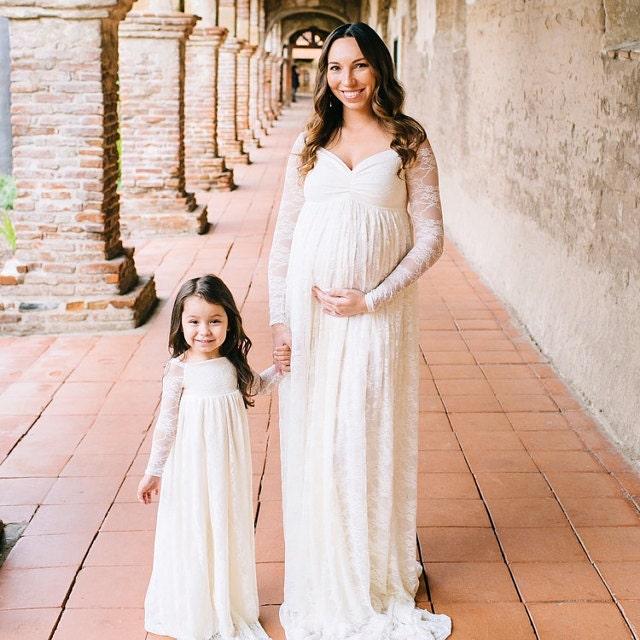 Glamour maternity dressmaternity gownlace dresslong sleeve