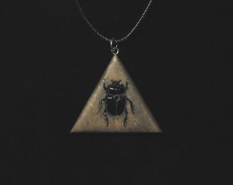 Wooden beetle pendant