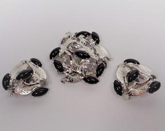 Vintage Schiaparelli Silver White Black Brooch Pin & Earrings Set