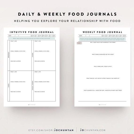 Intuitive Eating Kit  Food Journal Food Diary Meal Planner