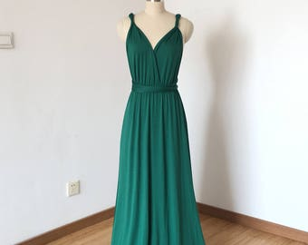 Dark Green Spandex Long Convertible Bridesmaid Dress