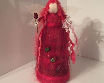 Rosetta Standing Fairy, Christmas Fairy, Needle Felt Fairy, Waldorf Inspired, Red Christmas Fairy