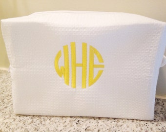 Monogram Waffle Weave Cosmetic Bag / Makeup Bag / Dopp Kit / Graduation Gift