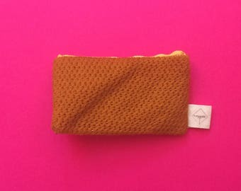 Mustard yellow embroidered coin purse red Plaid lining