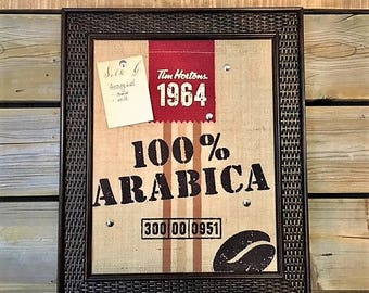 Bulletin/Cork Board made with Tim Hortons Burlap Bag