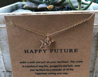 Happy Future Crane necklace