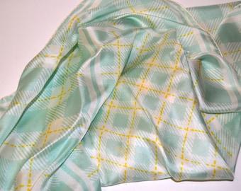Vintage Echo Mint Plaid Silk Scarf 26 inch Sq