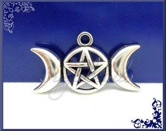 5 Triple Moon Goddess Pendants - Pentagram Pendants - Wicca Charms Antiqued Silver 29mm PS44