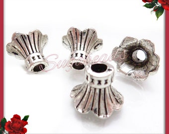 24 Bell Flower Bead Caps, Antiqued Silver Bead Caps, Cone Bead Caps, 12mm Bead Caps, Silver Bead Caps