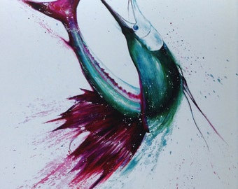 Green and purple Sailfish Print from original watercolor painting