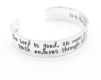 The Lord is Good Sterling Silver Scripture Verse Cuff Bracelet