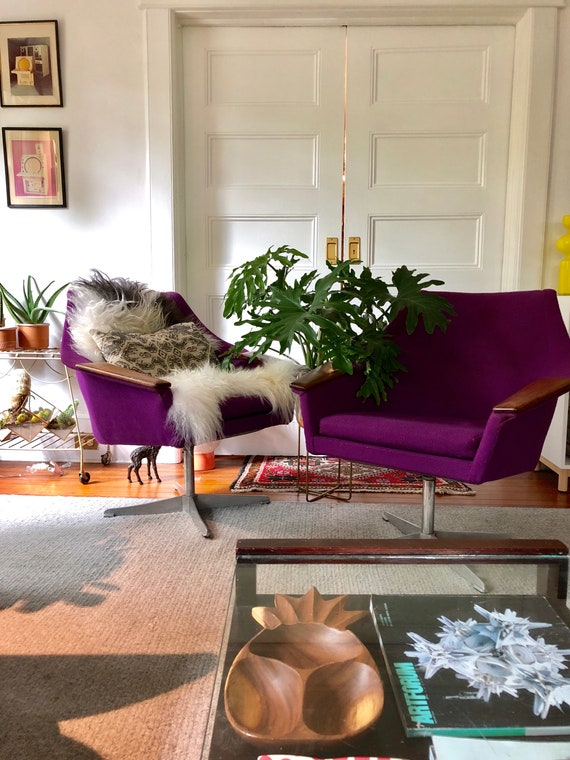 Pair of Mid-Century Modern Purple Upholstered Swivel Chairs - McM Home Decor Vintage Swivel Accent Chairs (Possibly Overman) - FREE SHIPPING