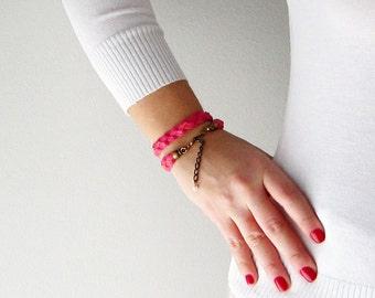 Braided leather cuff, Neon pink wrap bracelet, Pink women braided bangle, Neon pink leather cuff, Braided friendship bracelet