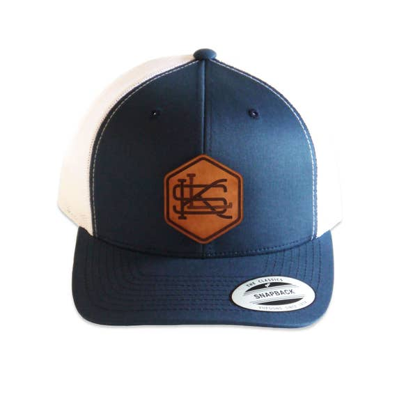 custom monogrammed hat leather patch low