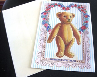 Vintage Greeting Card, Bartholemew Bear Paper Doll Clothing, 1990, Unused, Peck-Gandre Victorian Series, With Envelope