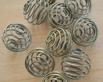 Ten Wire Spiral Pendants ~ Crystal Cage ~ 20 mm ~ Antique Bronze