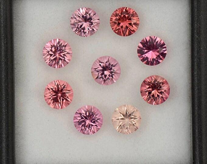 Excellent Concave Cut Round Pink Tourmaline Gemstone Set 4.85 tcw.