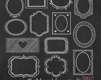 26 Clipart Chalkboard Label Frames. Hand drawn frames.+BONUS 1 JPG chalkboard background 300 DPI.