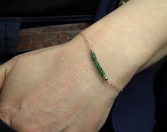 Gold emerald bracelet, Emerald bracelet, Gold fill emerald gemstone bracelet, Gemstone bracelet, May birthstone bracelet, Gifts