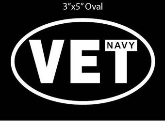 """Oval Decal, 3""""x5"""" White Vinyl, Veteran Decal, NAVY, ARMY, MARINES & More"""