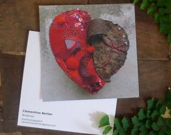 Card heart postcard - Renaissance - embroidery-Couture - Luneville