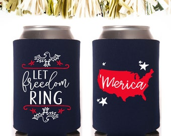 USA 4th of July Foam Can Coolers // 'Merica Stars Stripes Eagle Let Freedom Ring Memorial Day United States of America Independence Red Blue