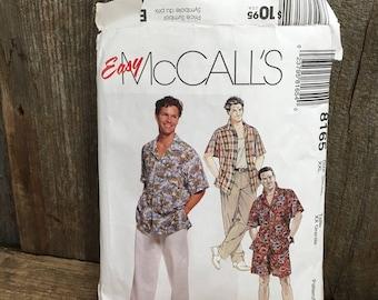 Vintage McCalls pattern, pattern 8165, McCalls 8165, Men's sewing pattern, men's shirt, tank top pull on pants and shorts pattern