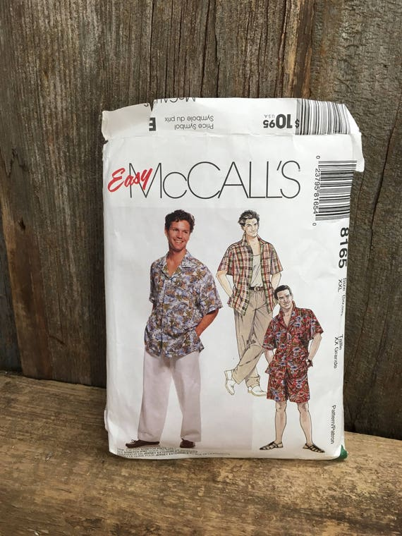 Vintage McCalls pattern, pattern 8165, McCalls 8165, Men's sewing pattern, men's shirt, tank top pull on pants and shorts pattern