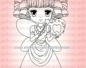 Digital Stamp-Tooth Fairy, Digi Stamp, Coloring page, Printable Line art for Card and Craft Supply