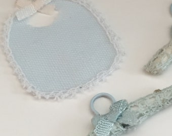Miniature Baby Bibs, Blue With Cream Bow, 2 Piece Set, Dollhouse Miniatures, 1:12 Scale, Dollhouse Accessory, Nursery Decor