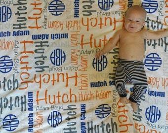 Personalize baby blanket Monogram baby blanket Personalize Swaddle birth announcement Baby Name Blanket Baby Boy Blanket Navy Orange