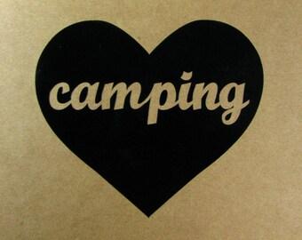 Camping heart vinyl car window decal - camping - camp - camping decal - camp decal - camping vinyl decal - camping car sticker - camping fun