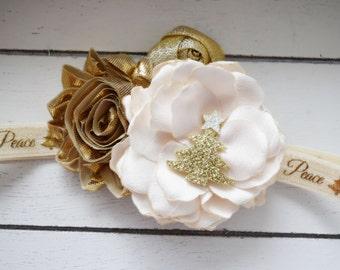Handcrafted Christmas Tree Headband - Peace Love Joy - Cream and Gold Headband - Ivory and Gold Headband - Cream Baby Headband - Gold Tree