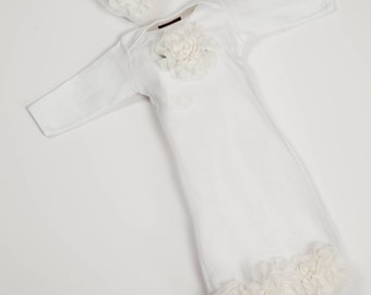 Newborn Infant Layette White Baby Gown with Off White Chiffon Flowers