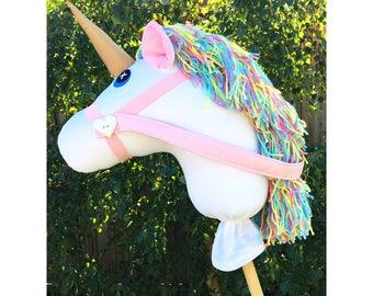 Handmade white unicorn Hobby Horse with pastel rainbow mane