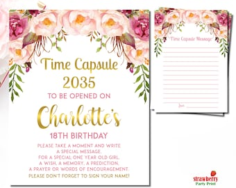 Floral Time Capsule Sign, Floral First Birthday Time Capsule, Pink & Gold Girl First Birthday, Time Capsule Sign Digital Printable, A54