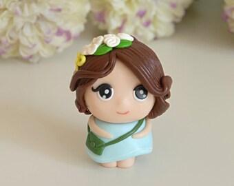 Little Girl Figurine, Polymer Clay Girl, minimio Figurine, Handmade, OOAK, Gift Figurine