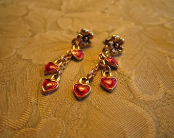 Valentine Red Hearts Dainty Dangle Earrings Say I Love You
