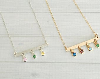 Birthstone Necklace - Birthstone Bar Necklace - Birthstone Necklace - Birthstone Jewelry - Mother's Day Gift - Mother's Necklace