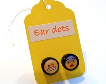 Emoji Studs,Ear Dots, Earrings,Painted little Wood Dots,Plug like,Pop culture