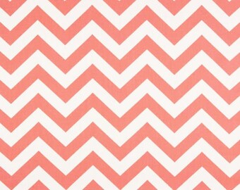 Coral Chevron Fabric by the YARD Home Decor zigzag on white Premier Prints upholstery curtains pillows drapes runners - SHIPsFAST