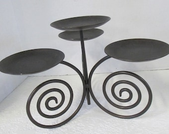 Vintage Partylite  black tinted brass wrought iron tabletop 4 candle holder used.