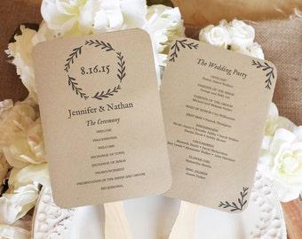Printable wedding fan program, DIY wedding programs, Kraft Paper Wedding Program, Wedding Fans, Editable text, Woodland Wreath