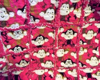 Pink Baby Monkey Blanket